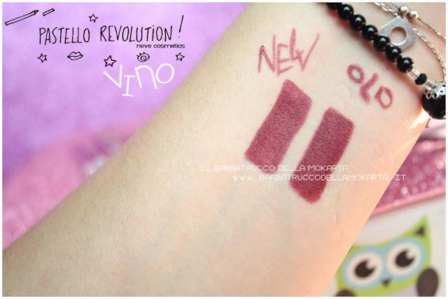 vino comparazioni BioPastello labbra Neve Cosmetics  pastello revolution