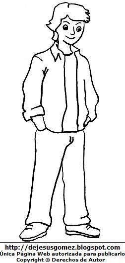 Imagen de un hombre joven para colorear, pintar e imprimir. Dibujo de joven hecho por Jesus Gómez