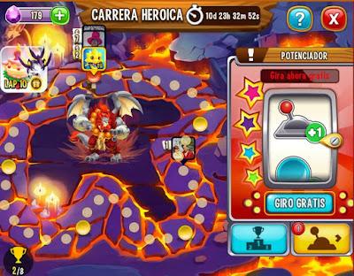 imagen de la ruleta de la suerte de la carrera heroica noble dragon amuka