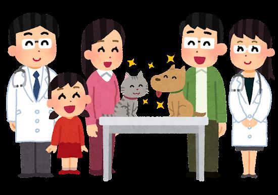 ペットと飼い主の家族と獣医のイラスト