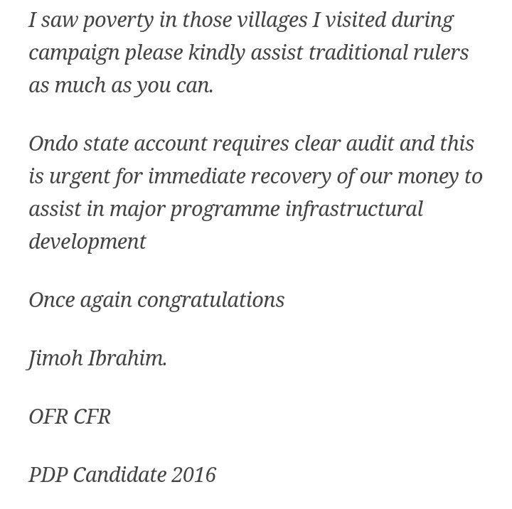 Jimoh Ibrahim hails APC for winning Ondo 2016 guber election, mocks FFK