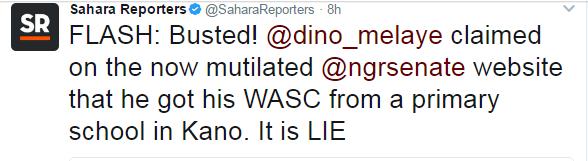 Sahara reporters, News, Certificate scandal, Dino Melaye,