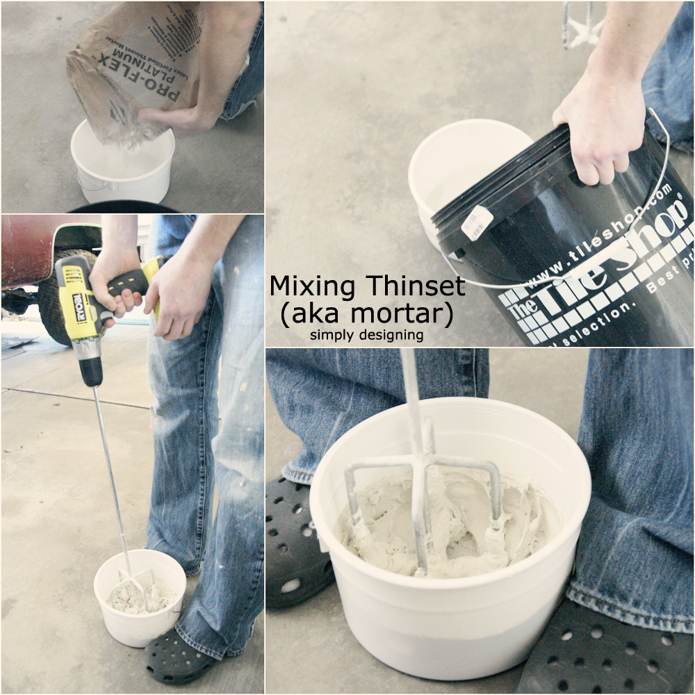 Mix Thinset (mortar) for Tile | a complete tutorial for laying tile flooring and herringbone tile flooring | #diy #herringbone #tile #tilefloors #thetileshop @thetileshop