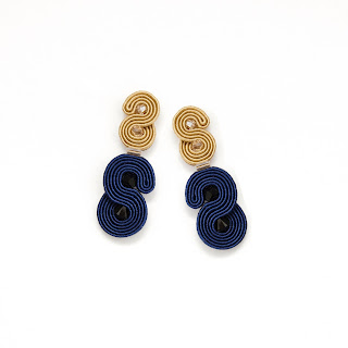 Gold-and-navy earrings-large stud-soutache