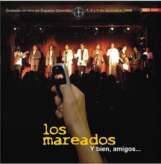 """tapa del disco de """"Los Mareados"""" grabado en Espacio Guabia, donde la foto es el grupo en el interior de la sala"""