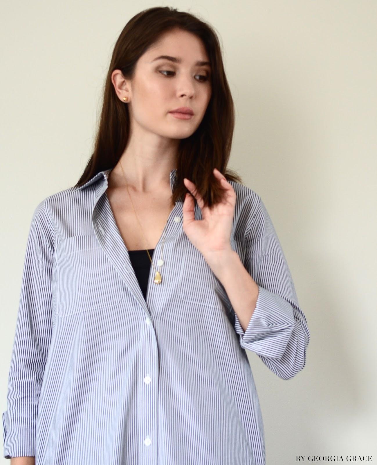 Everlane Striped Cotton Poplin Long Shirt Dress   Review   By ...