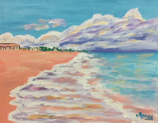 North Beach - Original Acrylic Painting by Marcy Brennan