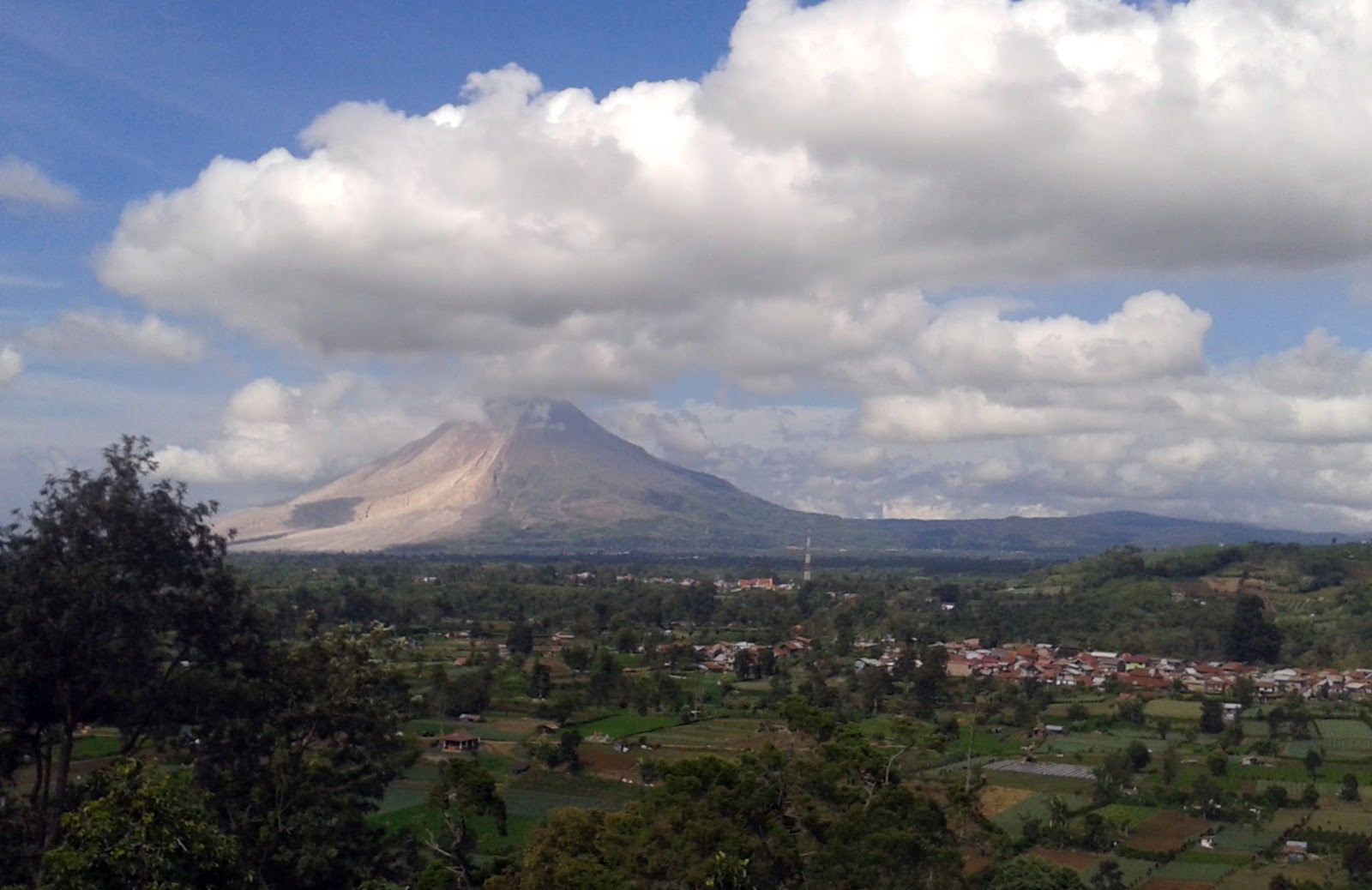 Views of Mount Sinabung and plots