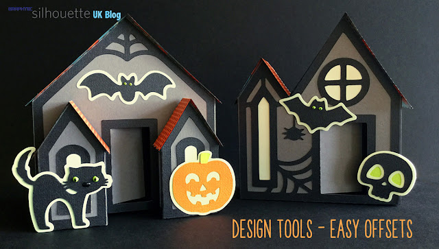 Design Tools Tutorial - Easy Offsets by Janet Packer https://Craftingquine.blogspot.co.uk for Graphtec Silhouette UK. Haunted houses cutting files by Lori Whitlock.