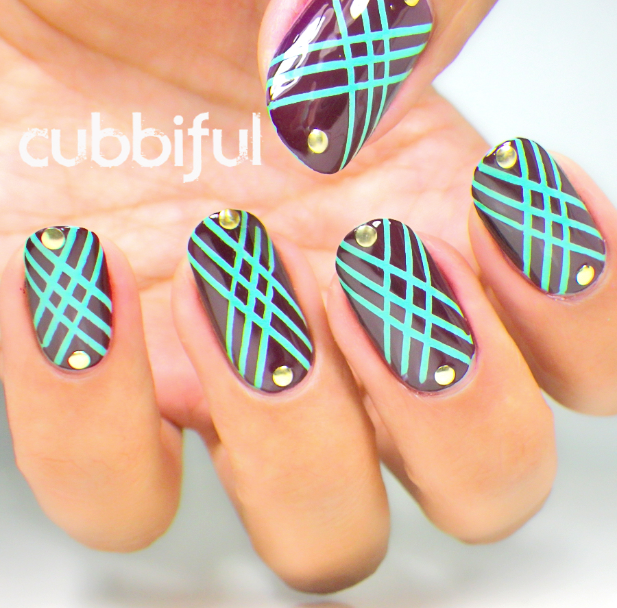 Art Deco geometric pattern nails with studs