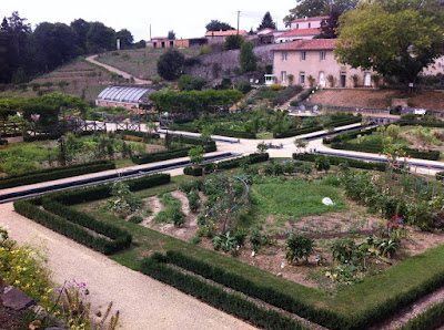 a view down to the 'potager' at Chateau Colbert in Maulévrier