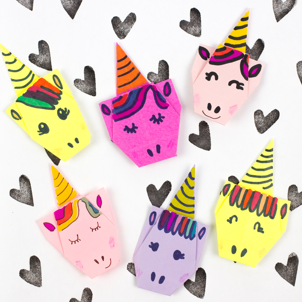 super cute origami unicorns pink stripey socks