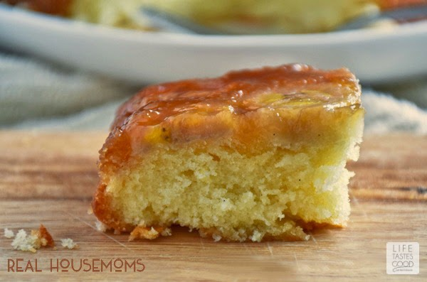 Upside Down Banana Cake | by Life Tastes Good is just like a Pineapple Upside Down Cake except I used bananas for the fruit. The caramelized bananas combined with the homemade goodness of a basic vanilla cake is a delicious pairing. It tastes so good! The flavors remind me of Bananas Foster, another favorite dessert classic