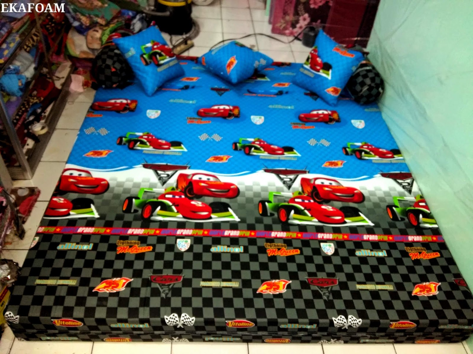 sofa bed kasur busa lipat inoac jakarta modular 2016 motif the car biru agen