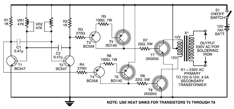 Low Cost Soldering Iron Inverter Circuit Diagram Circuit