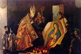 O milagre: a imagem aparece pintada na tilma do santo. Basílica de Guadalupe, Cidade do México