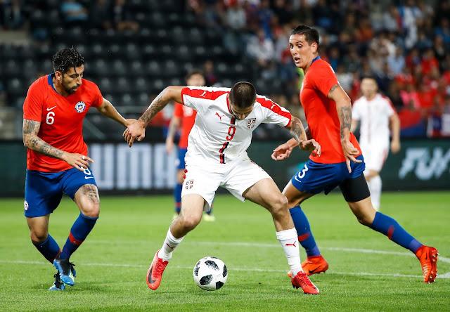 Serbia y Chile en partido amistoso, 4 de junio de 2018