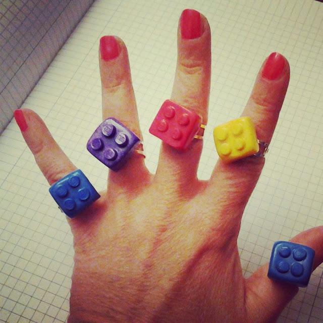 anelli mattoncini lego in fimo