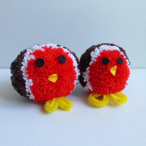 handmade festive pom pom robins