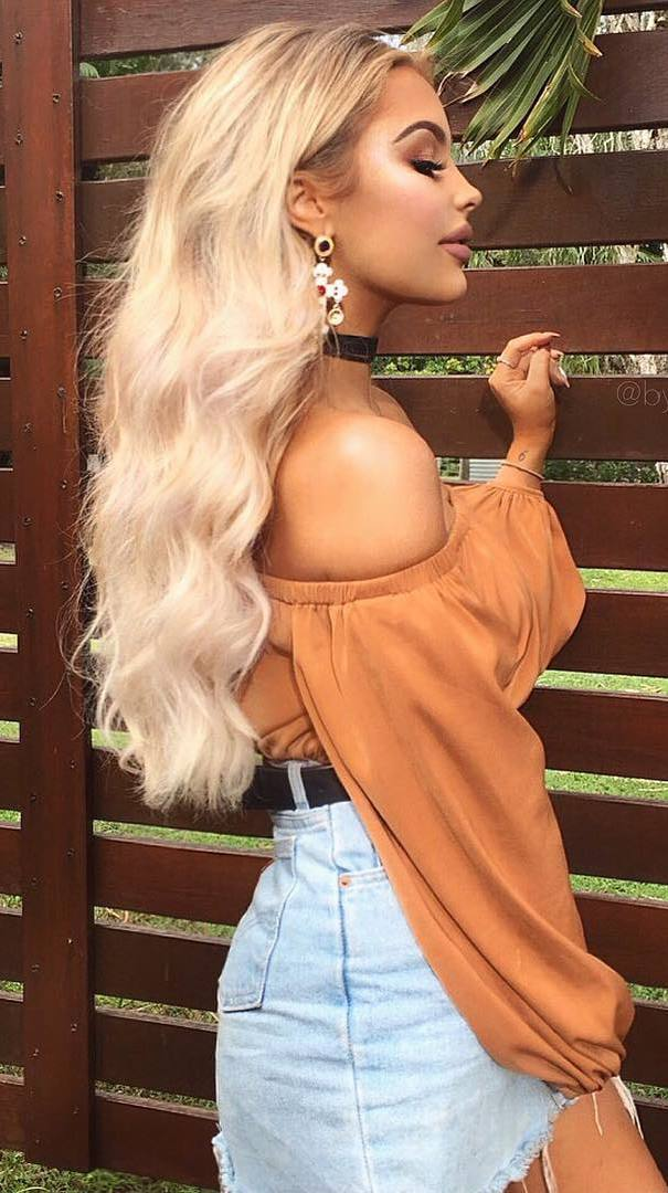 summer ootd: off shoulder top + denim skirt