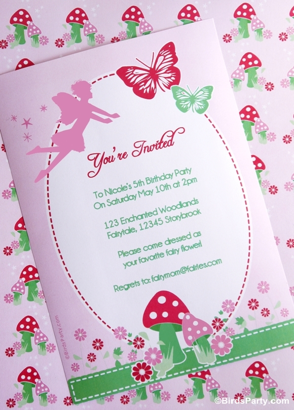 Pink Pixie Fairy Birthday Party printable invitations - BirdsParty.com