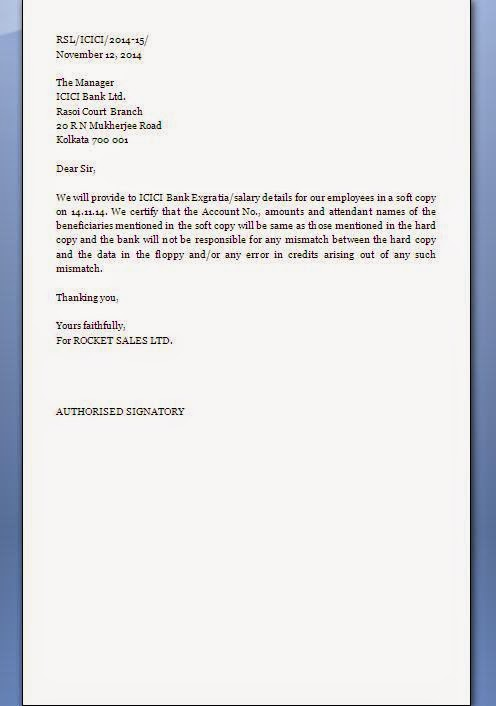 Letter To Bank For Non Responsibility