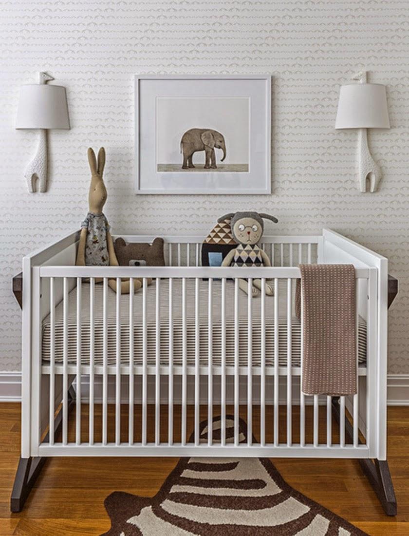 Habitación infantil marrón chocolate blanco