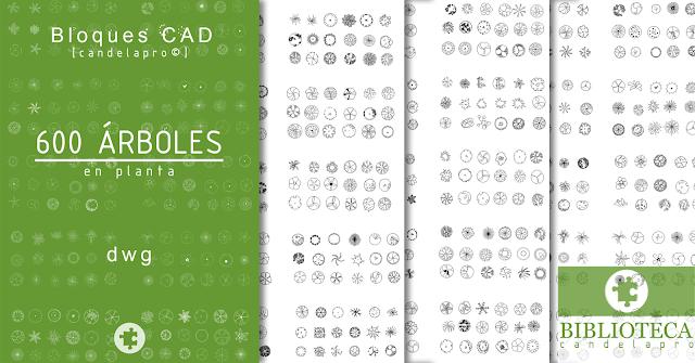 Bloques CAD | 600 ÁRBOLES en planta| dwg |