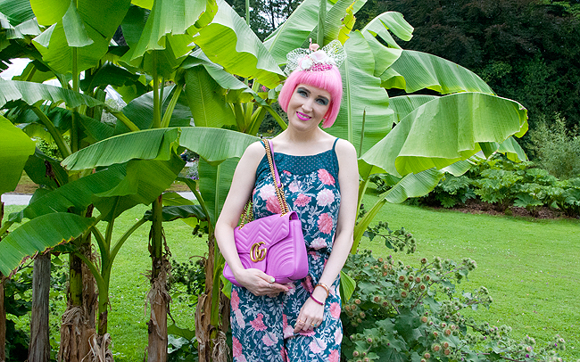 jumpsuit blog, Tchibo, Gucci Marmont, pink haired blogger