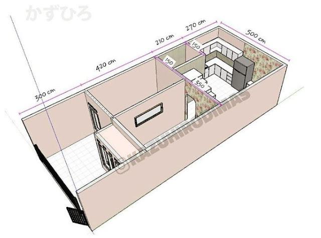 Denah Lengkap Rumah 5x12