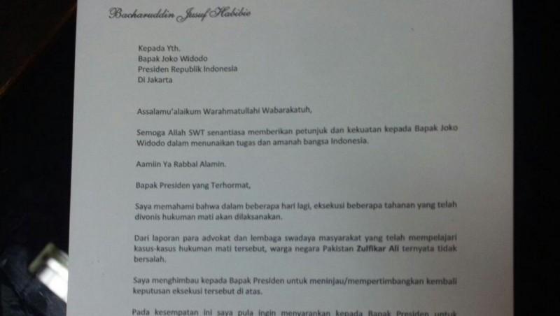 Surat BJ Habibie ke Presiden Jokowi