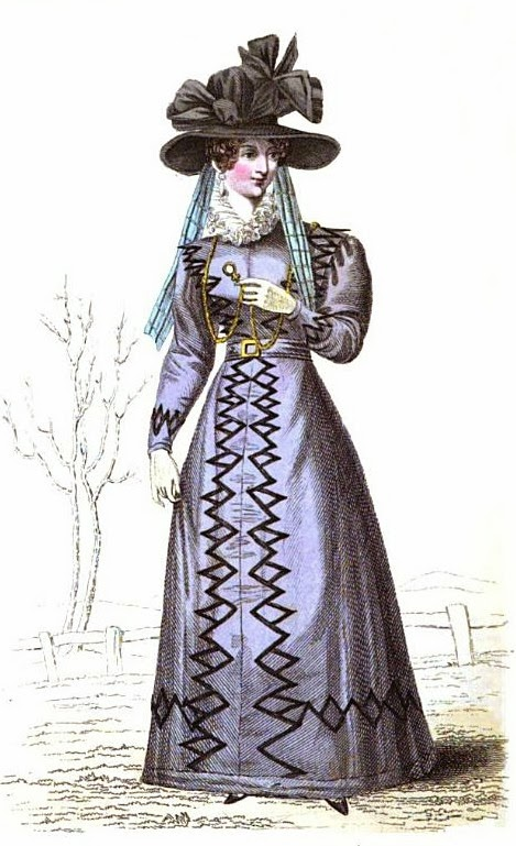 Walking dress   from La Belle Assemblée (Mar 1827)