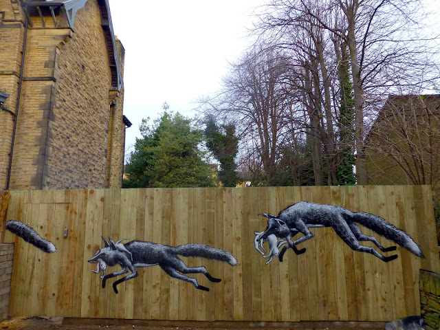 """""""Urban Foxes"""" New Street Art Piece By Phlegm On The Streets Of His Hometown, Sheffield, UK 1"""