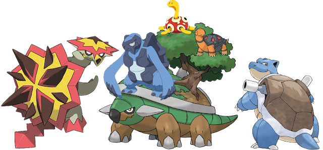 Pokémon Pokemon turtle tortoise species Turtonator Torterra Carracosta Shuckle Torkoal Blastoise fully evolved group picture artwork