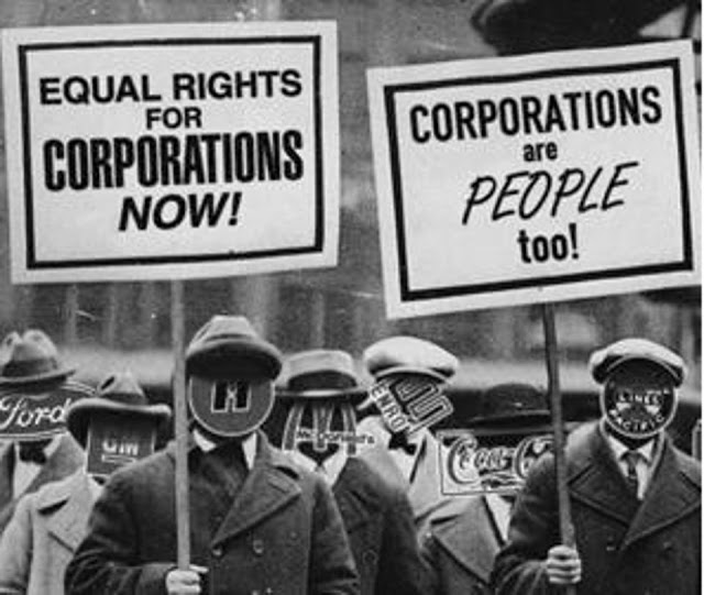 Photoshopped parody of depression era protest. Men with corporation logos over their faces hold protest signs. 'Equal rights for corporations' 'Corporations are people too' Court Complexities and Legal Fiction, A Moron In A Hurry marchmatron.com