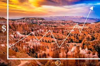 generic graphic of investing overlayed on Cramer Imaging's fine art landscape photograph of Sunset at Bryce