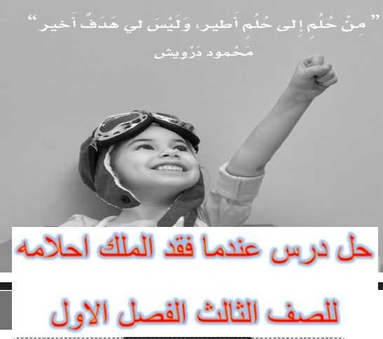 حل درس عندما فقد الملك احلامه كتاب النشاط لغة عربية للصف الثالث الفصل الاول تعليم الامارات