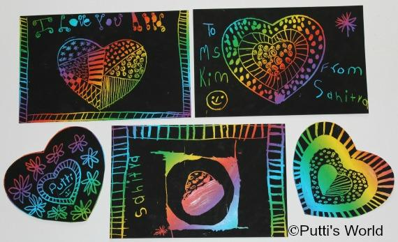Valentine Kids craft Scratch heART