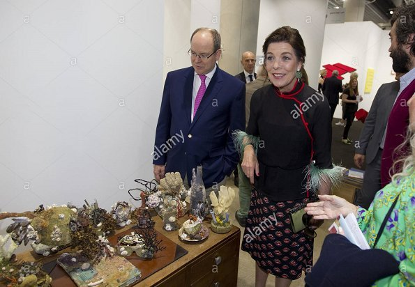 Prince Albert of Monaco and Princess Caroline of Hanover attended the opening of the Art Monte Carlo 2017 exhibition