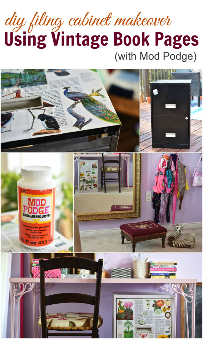 DIY Filing Cabinet Makeover Using Vintage Book Pages #12monthsofdiy #crafts #decor #home