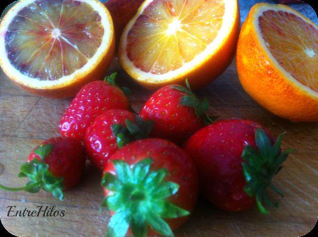 fresas y naranjas sanguinas
