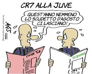 cristiano ronaldo, juventus, calcio, sport, calciomercato, scudetto d'agosto, umorismo, vignetta