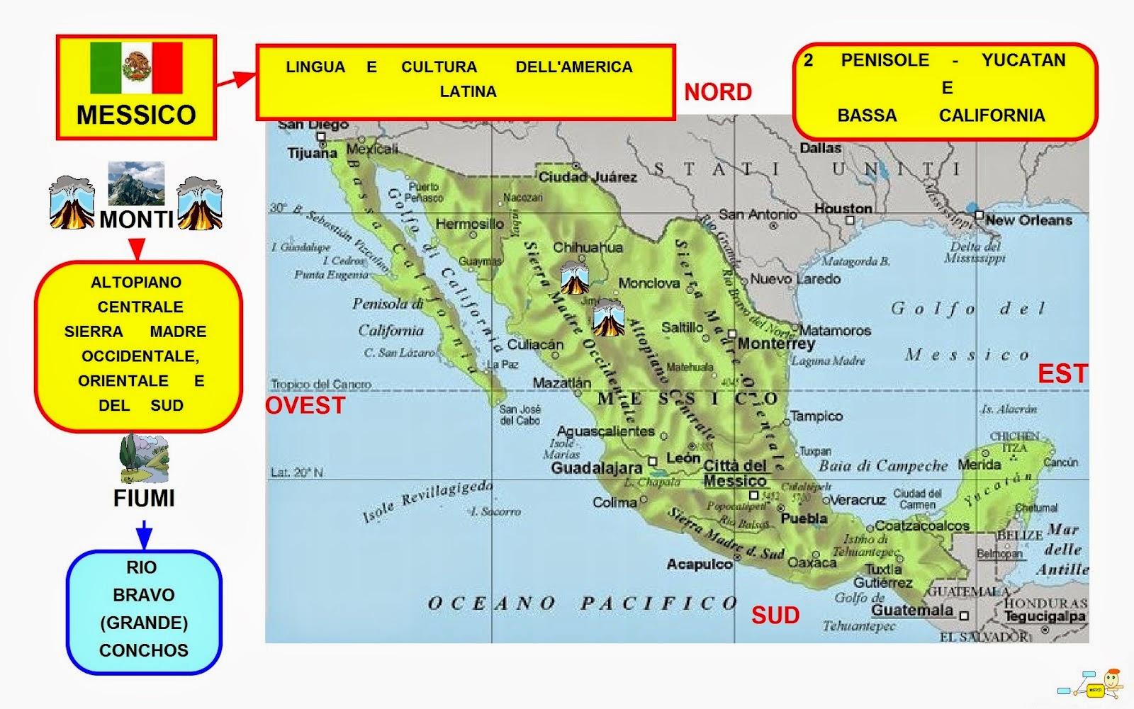 Mappa concettuale messico monti e fiumi for Cabine romantiche nel sud della california