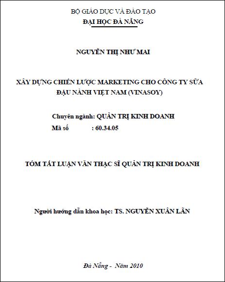 Xây dựng chiến lược marketing cho công ty sữa đậu nành Việt Nam (Vinasoy)