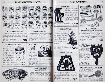 Resource catalog for vintage Halloween collectibles that contains Beistle's witch decoration and other crepe, noisemakers, etc.