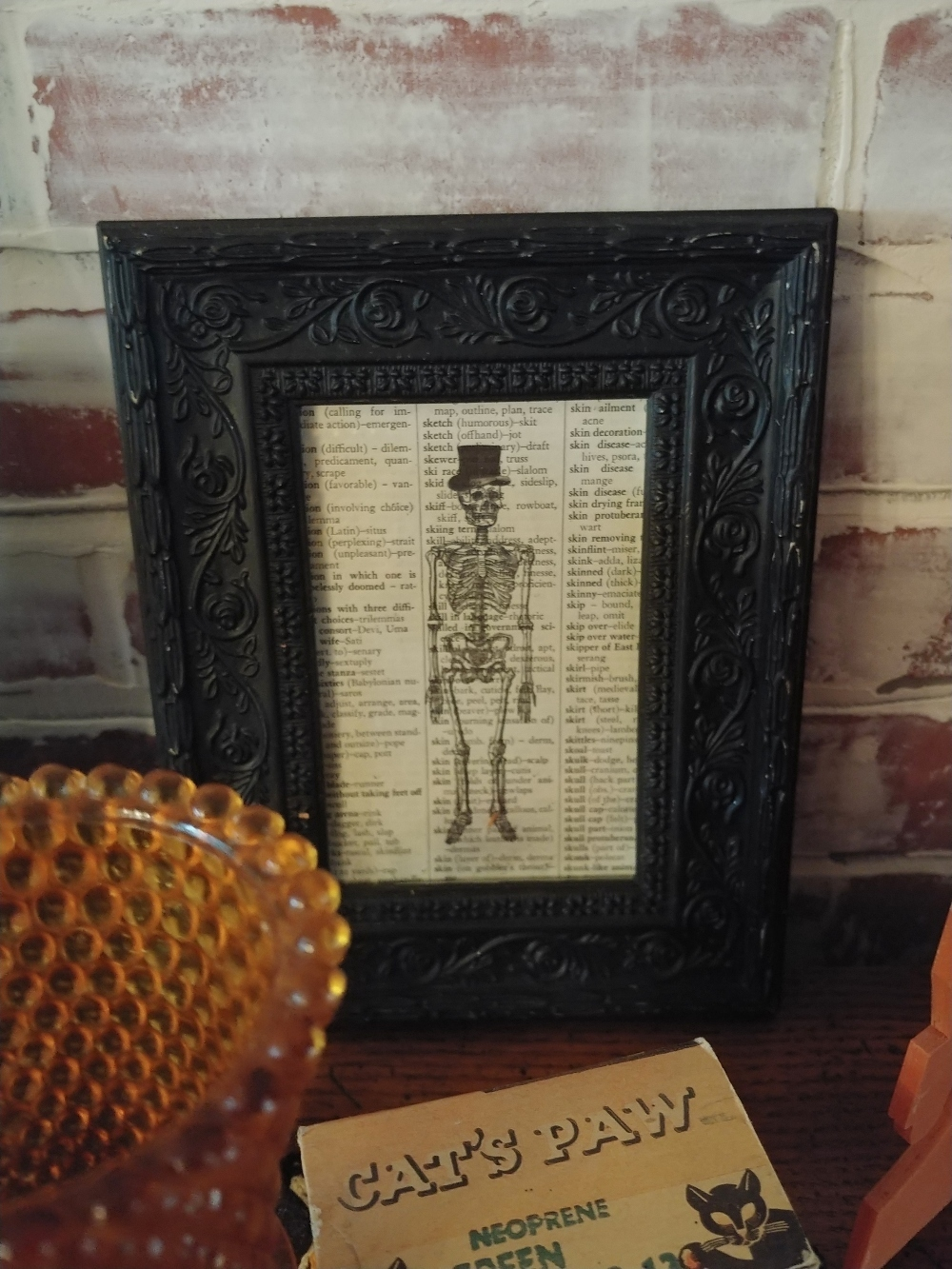 skeleton printed on book page