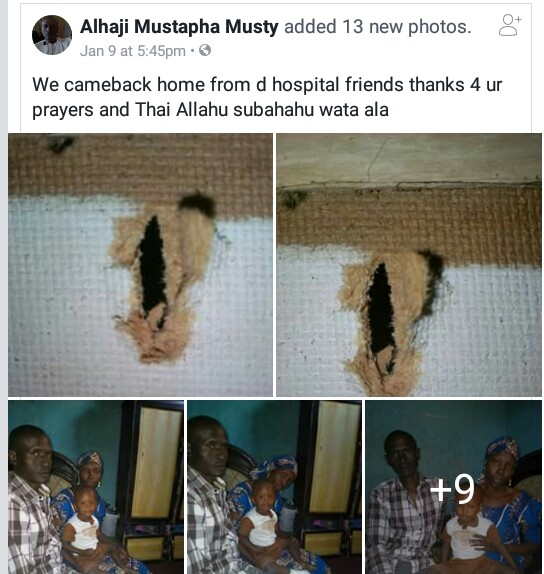 Photos: Stray bullet allegedly fired by soldiers penetrates through roof of a house in Maiduguri and hits a sleeping child