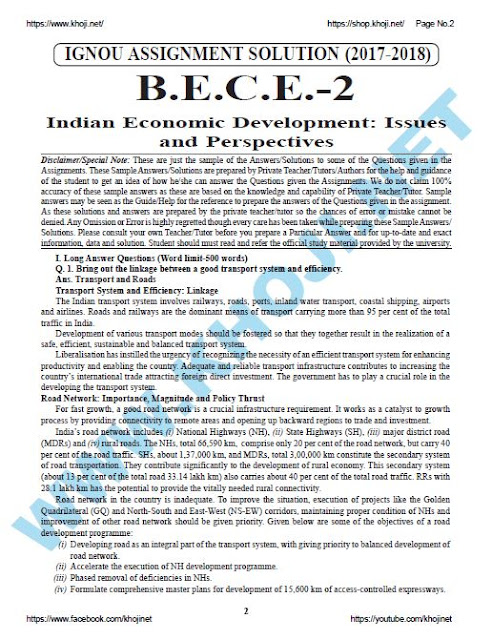 IGNOU BDP Solved Assignment For BECE-002 English Medium 2017-18