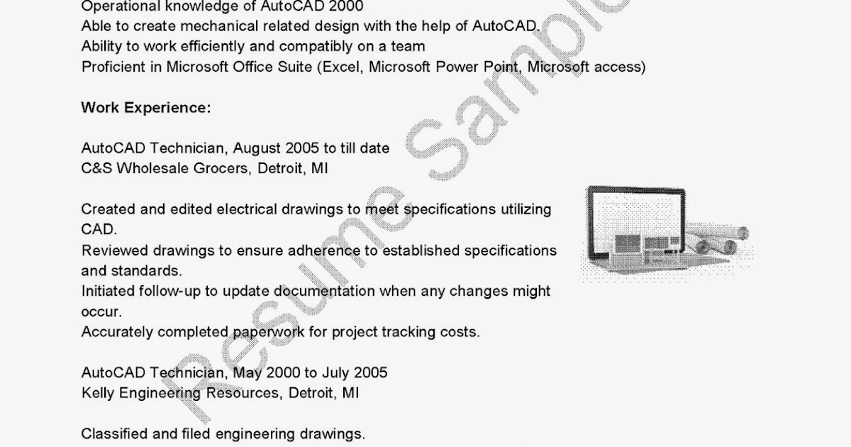 Autocad Technician Resume Images - resume format examples 2018 - autocad technician sample resume