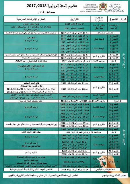 تنظيم السنة الدراسية 2018/2017 بشكل رائع حسب المقرر الوزاري